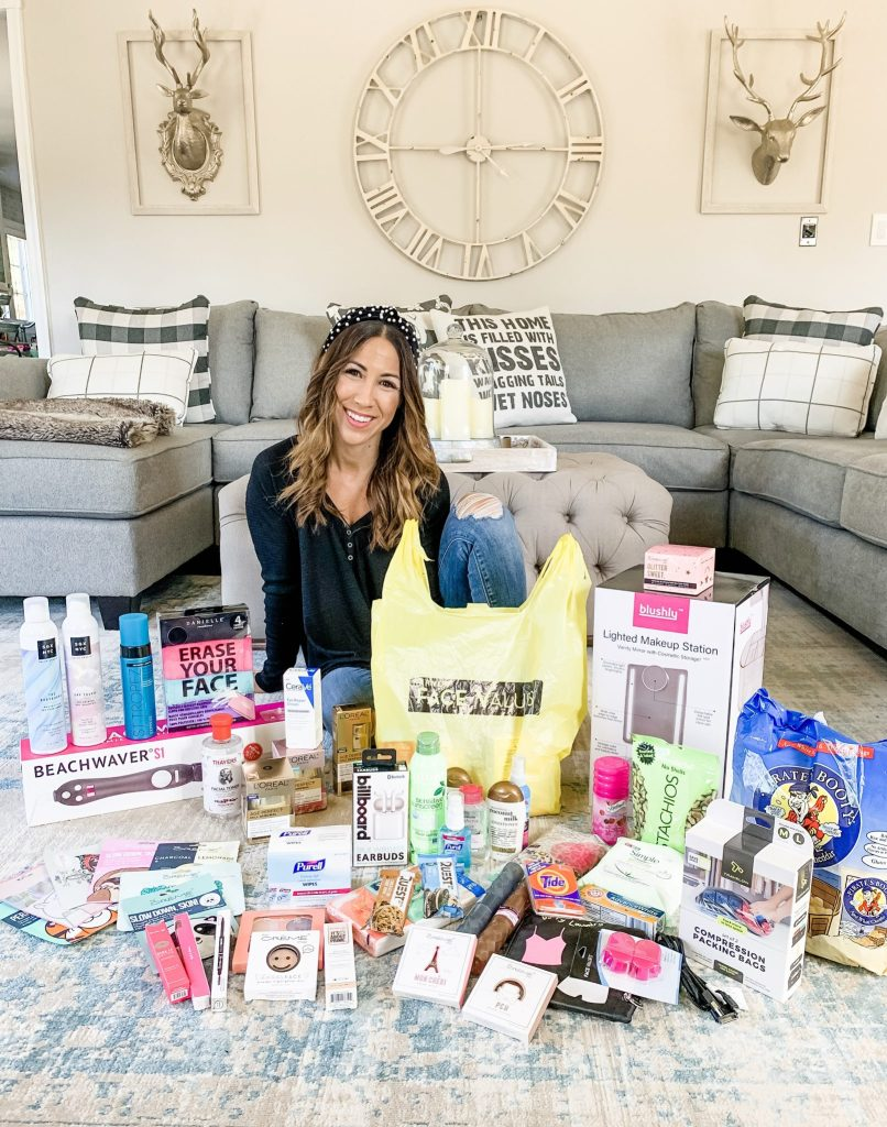 Harmon Face Values October Haul by top US beauty blogger, House of Leo Blog: image of woman with Harmon Face Values shopping haul