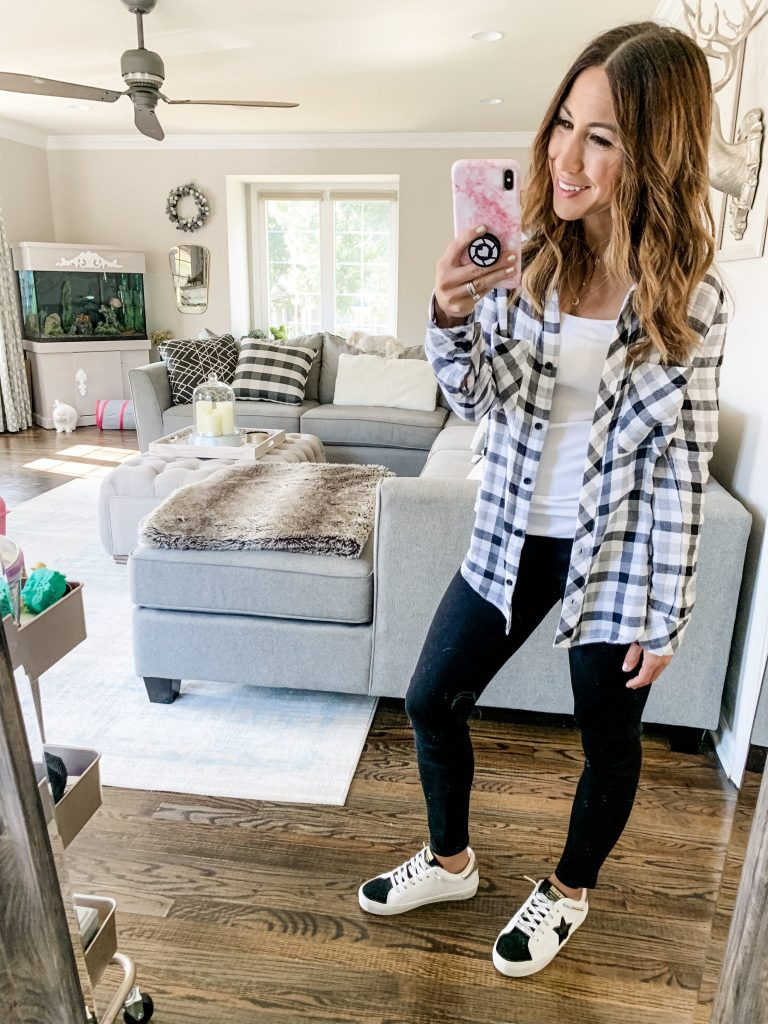 Early Fall Instagram Roundup by top US fashion blog, House of Leo Blog: image of woman wearing checkered button down, Vintage Havana star sneakers