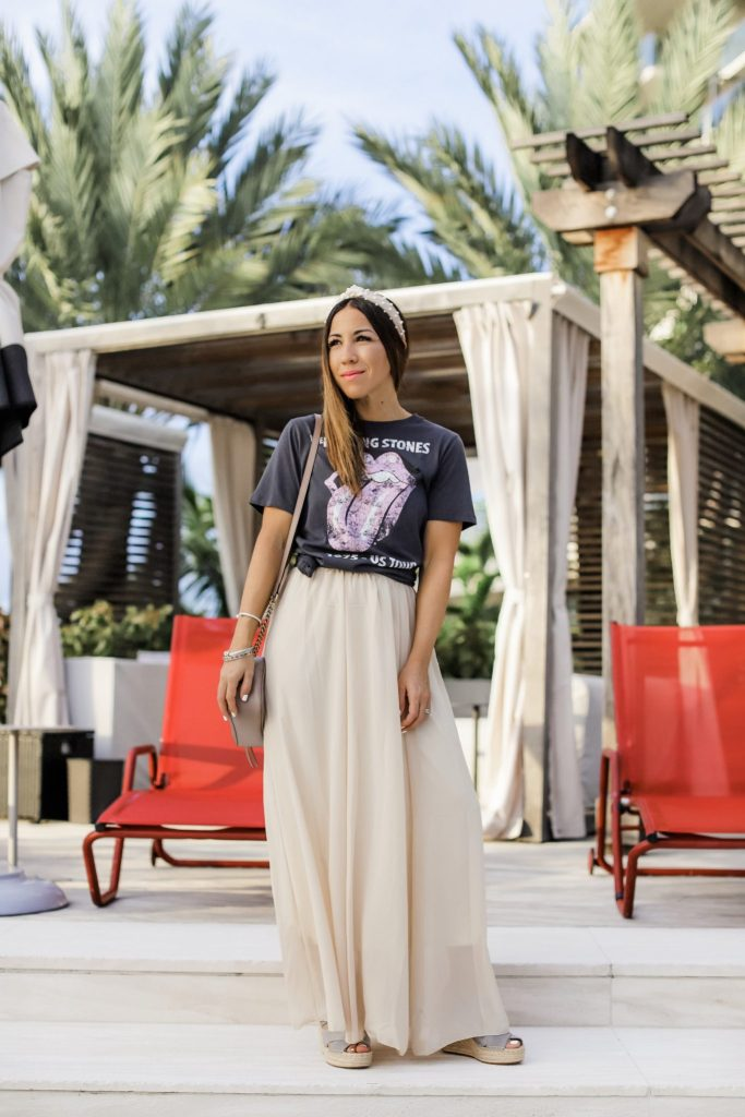 How to Dress Up A Graphic Tee by top US fashion blog, House of Leo Blog: image of woman wearing a maxi skirt and graphic tee