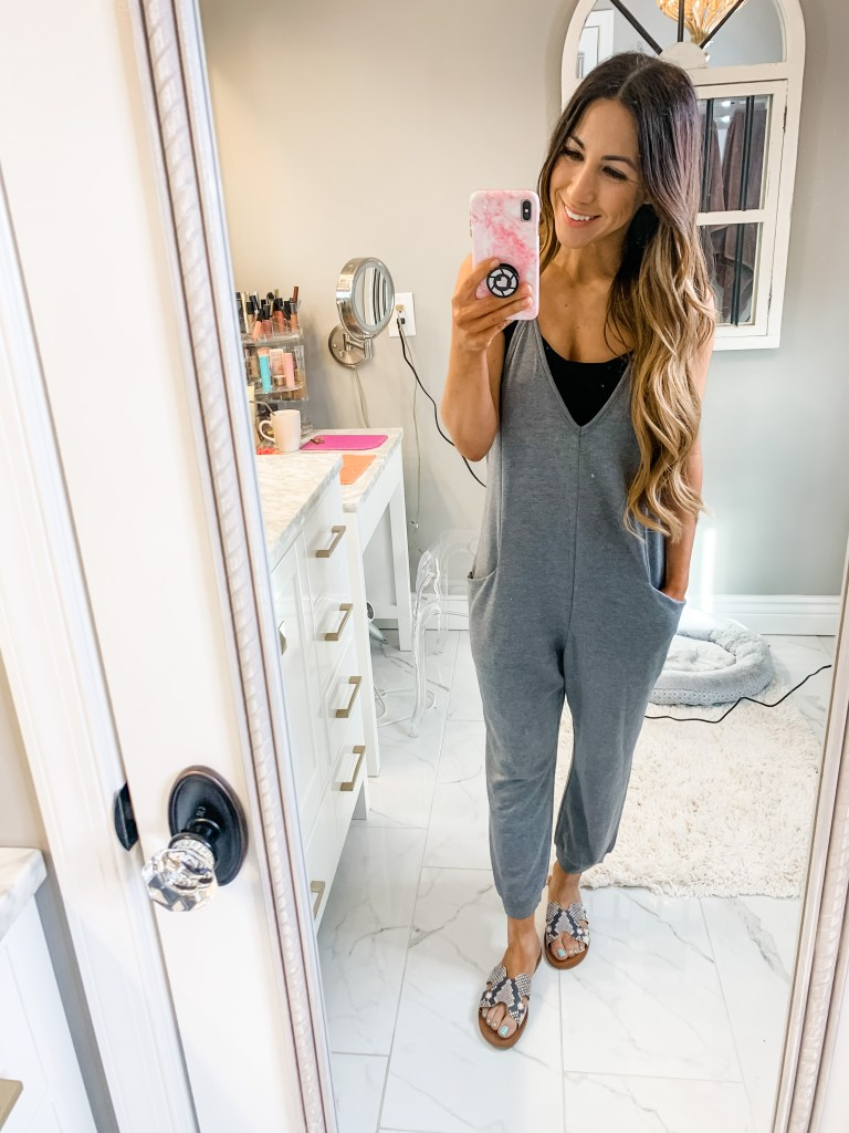 April Target Haul by top US fashion blog, House of Leo Blog: image of woman wearing gray jumpsuit