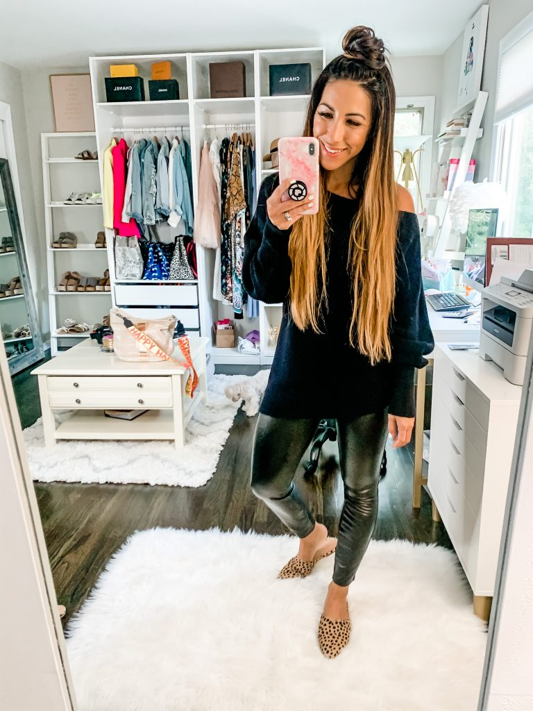 How To Style Spanx This Fall by top US fashion blog, House of Leo Blog: image of woman wearing Spanx faux leather pants and black sweater