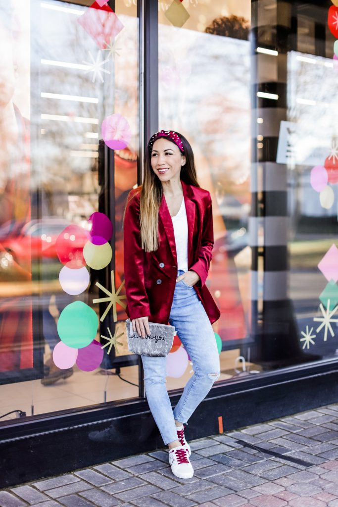 November Finds From Express by top US fashion blog, House of Leo Blog: November finds from Express, image of velvet red blazer