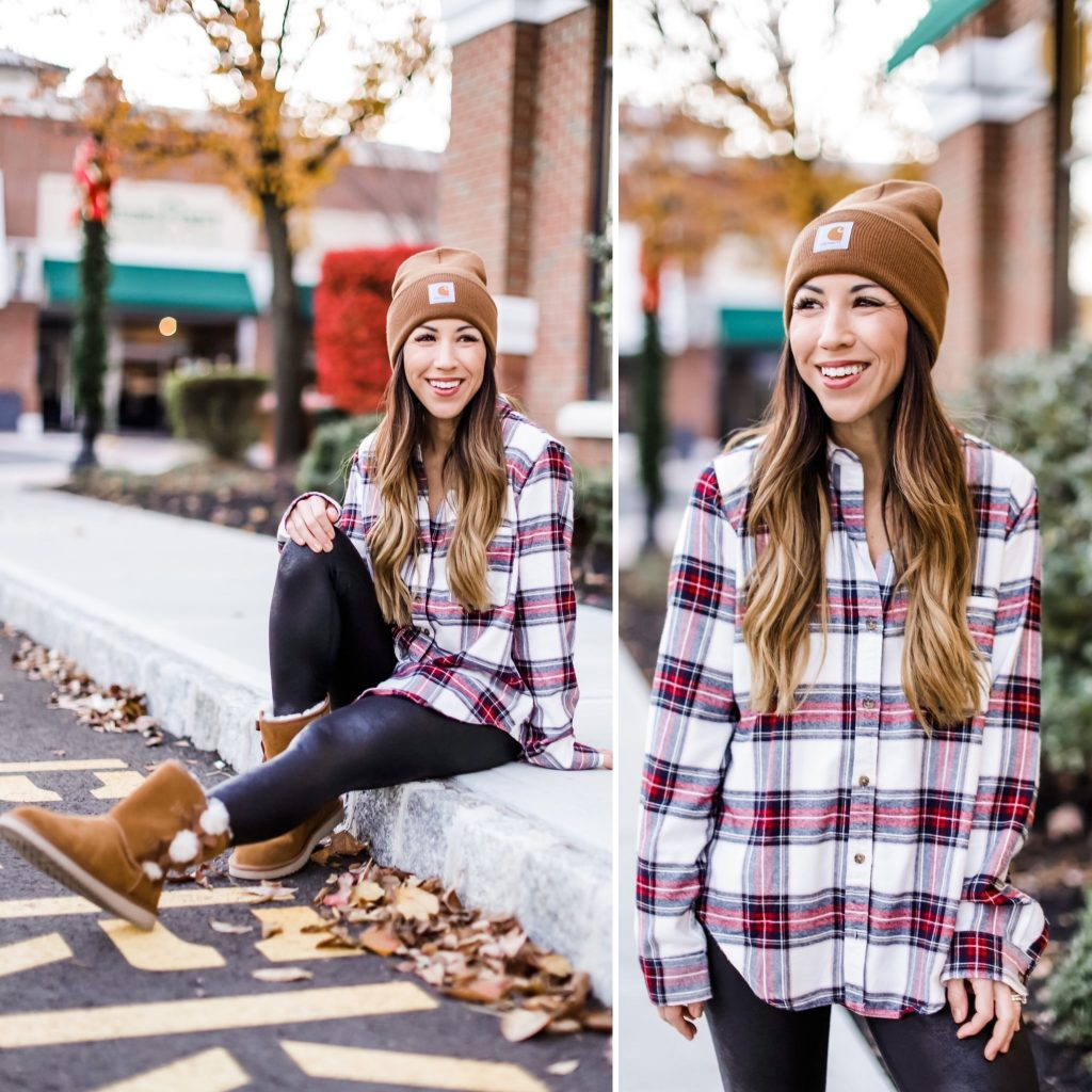 Cyber Weekend Outfits On Sale by top US fashion blog, House of Leo Blog: cyber weekend outfits on sale, image of abercrombie flannel shirt, koolaburra by ugg boots
