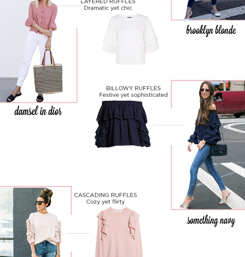 How to Wear Ruffles, outfit inspiration via Brooklyn Blonde, Damsel in Dior, Something Navy, Hello Fashion Blog, The Atlantic Pacific