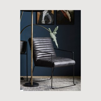 Black Leather Armchair Scandi