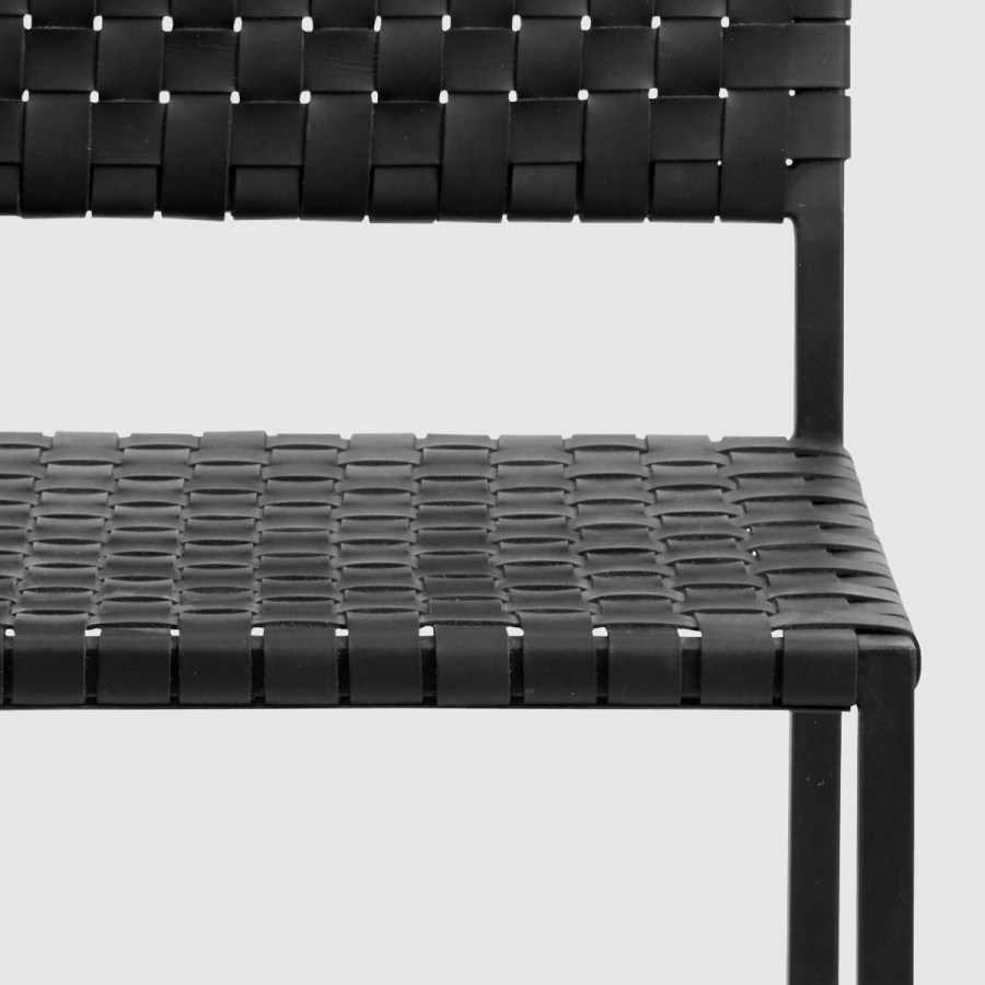 Noir Metal & Leather Dining Chair gallery image