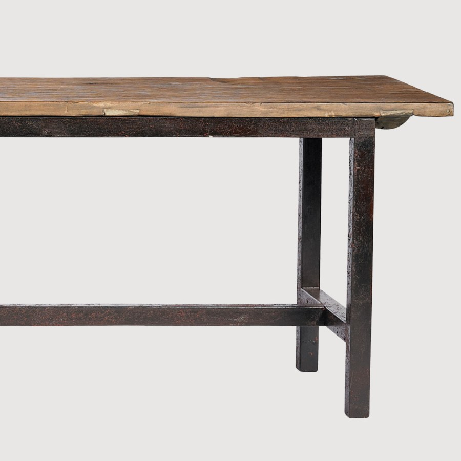 Rough Pine Bench with Metal Legs – Large gallery image