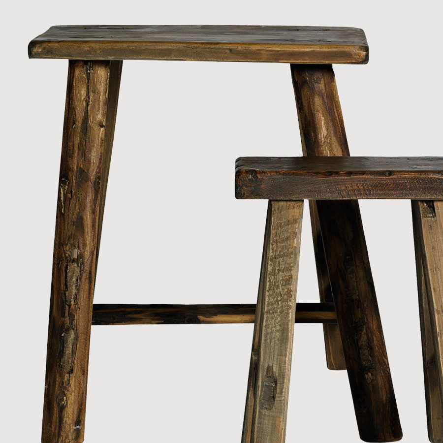 Two Fir Wood Milking Stools gallery image