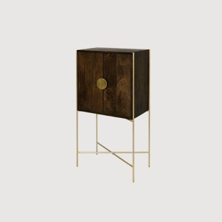 Dark wood brass bar cabinet