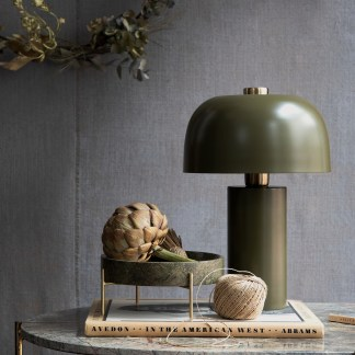 Khaki green brass table lamp