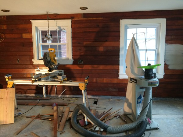 Faux shiplap using knotty pine boards in kitchen - House on Winchester