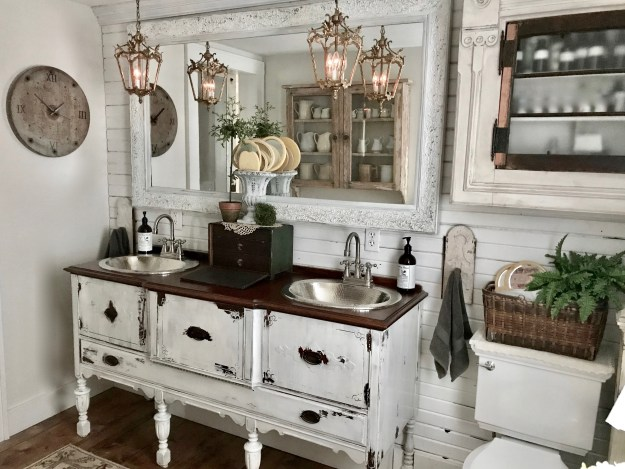 Double vanity bathroom repurposed buffet sinks - House on Winchester