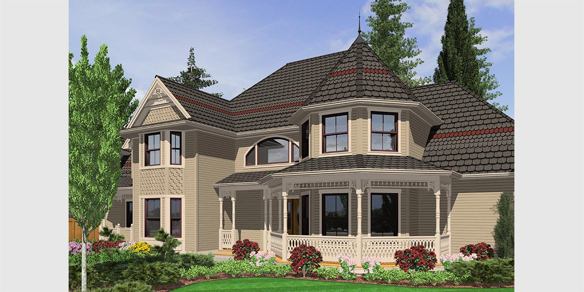 Victorian House Plans  Country Kitchen House Plans  Bonus Room Ov House front drawing elevation view for 10067 Victorian House Plans  Country  Kitchen House Plans