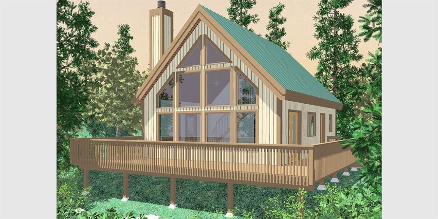 Small A Frame House Plans  House Plans With Great Room  10036 House front color elevation view for 10036 fb Small A Frame house plans