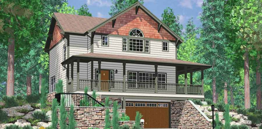 Hillside Home Plans with Basement  Sloping Lot House Plans 10060 Daylight basement house plans  Craftsman house plans  house plans with  wrap around porch