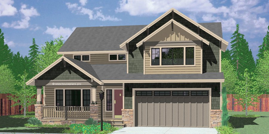 Two Story Craftsman Plan With 4 Bedrooms 40 Ft Wide X 40 Ft Deep 4 bedroom house plans  craftsman house plans  40 ft wide house plans  40 x  40 house plans  two story house plans  9950