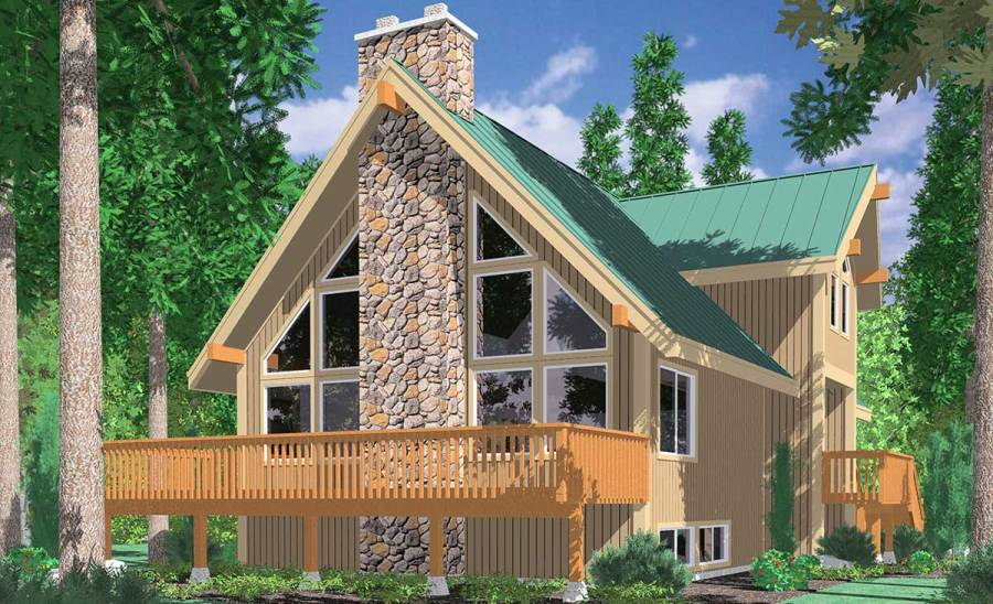 A frame House Plans With Steep Rooflines 3683 A Frame house plans  Vacation house plans  Masonry Fireplace  Wall of