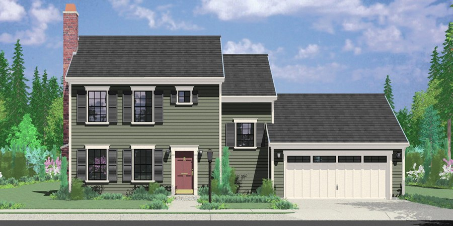 Single Family House Plans Floor Plans Home Plans Portland NW 9952 Colonial House Plan 3 Bedroom  2 Bath  2 Car Garage