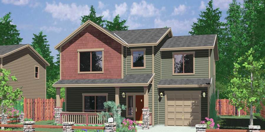 Small Affordable House Plans and Simple House Floor Plans 10094 Narrow lot house plans  small lot house plans  3 bedroom house plans