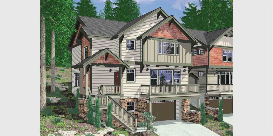 Walkout Basement House Plans  Daylight Basement on Sloping Lot 10110 Craftsman house plan for sloping lots has front Deck and Loft