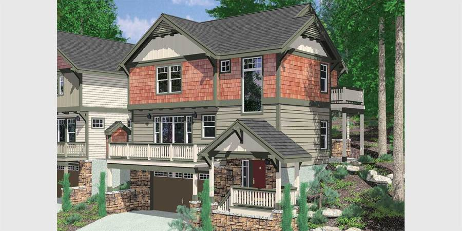 Sloping Lot House Plans  Hillside House Plans  Daylight Basements 10111 Craftsman house plan for sloping lots has front and rear decks