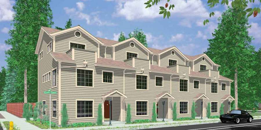 Quadplex House Plans  Multi Family House Plans  F 559