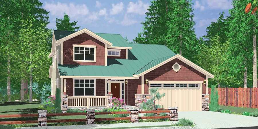 House Plans  Master On The Main House Plans  2 Story House Plans  House front color elevation view for 10144 House plans  master on the main house  plans