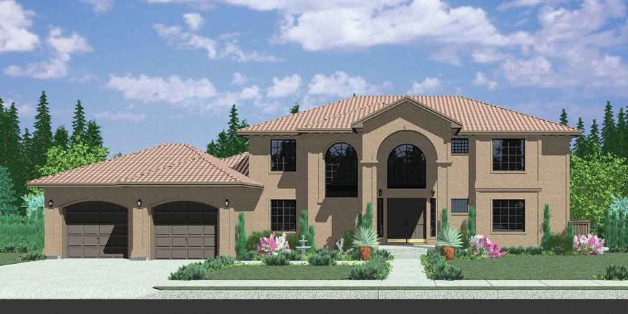 Mediterranean House Plans  Luxury House Plans  10042 House front color elevation view for 10042 Mediterranean house plans   luxury house plans  walk