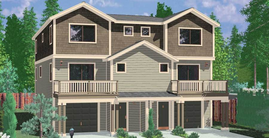 Town House and Condo Plans  Multi family and Townhome D 585 Townhouse Plans  Row House Plans  4 Bedroom Duplex House Plans