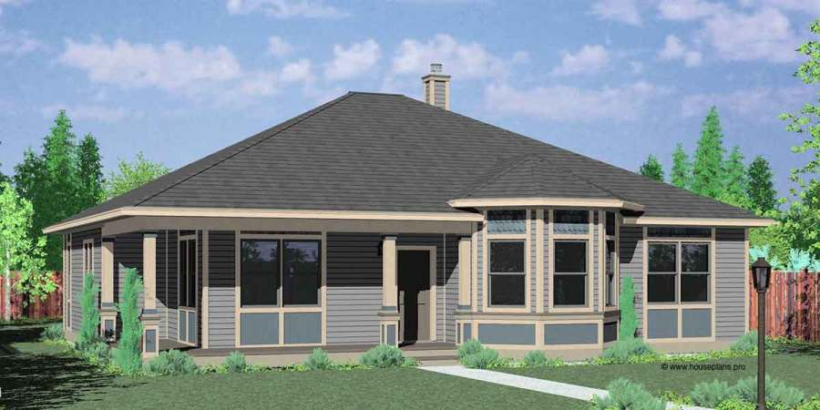 Victorian House Plans  One Story House Plans  House Plans  10153 House front color elevation view for 10153 Victorian house plans  one story  house plans
