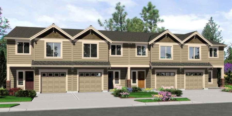 4 Plex Building Plans  4 Bedroom House Plans  Row House Plans 4 plex building plans  4 bedroom house plans  row house plans  F 563