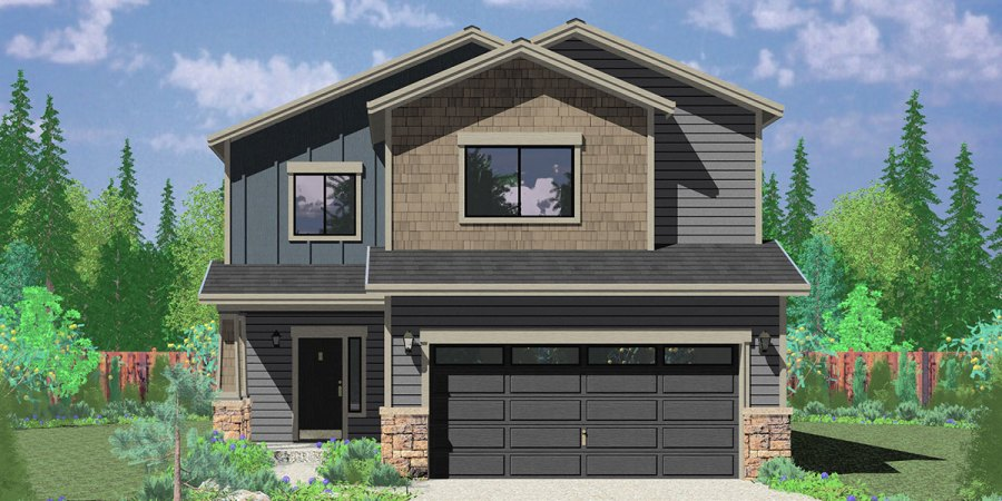 Affordable 2 Story House Plan Has 4 Bedrooms And 2 5 Bathrooms House front color elevation view for 10179 Affordable 2 story house plan  has 4 bedrooms and