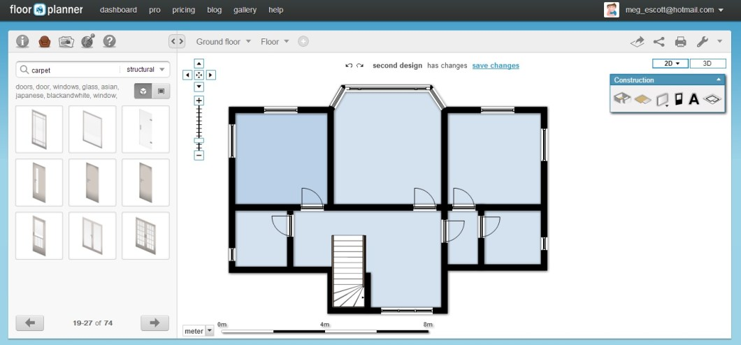 Bedroom planning tool online for Floorplanner software