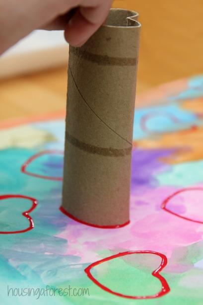 DIY Cardboard Heart Stamp ~ Valentines Art for kids