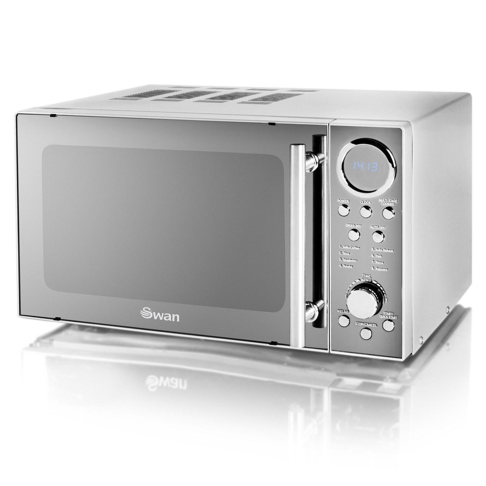 swan retro mirrored silver 800w digital microwave