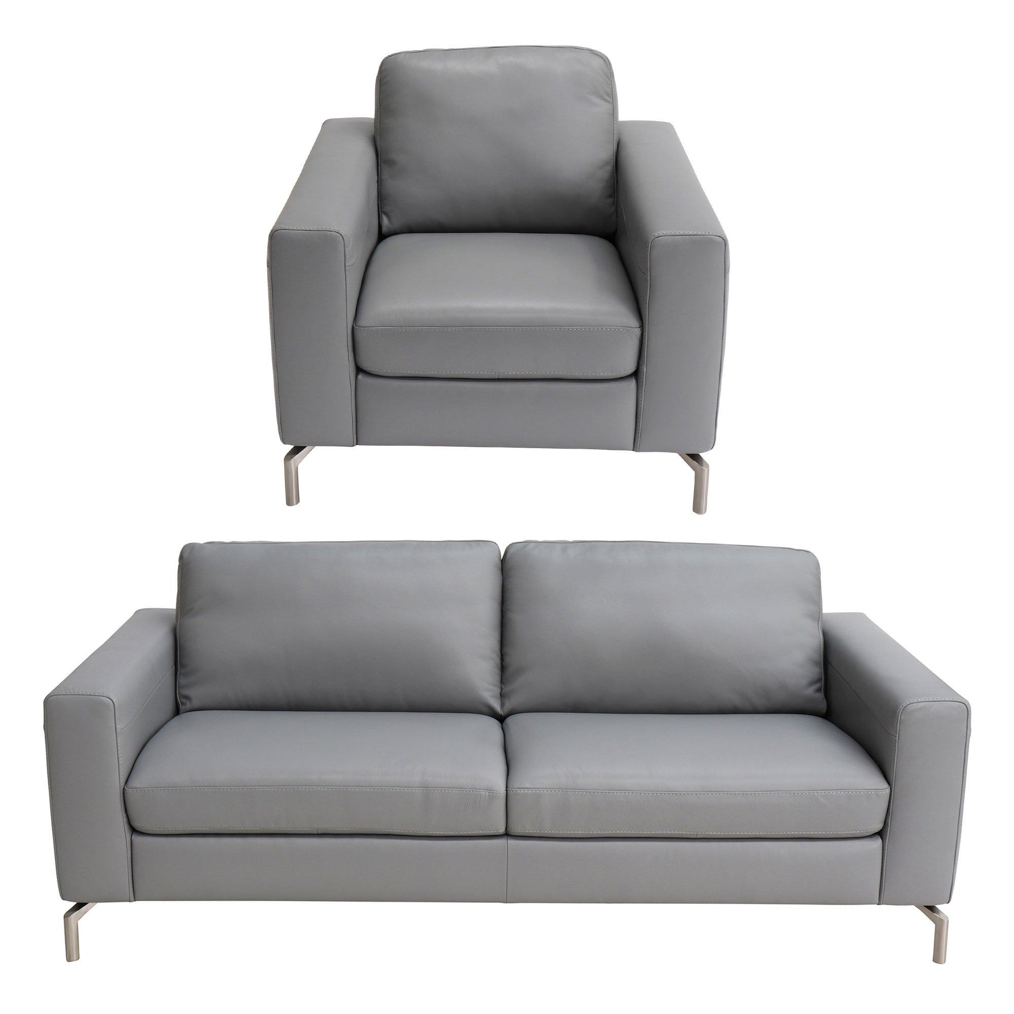 Natuzzi Editions Milano Grey Leather 3 Seater Sofa Armchair