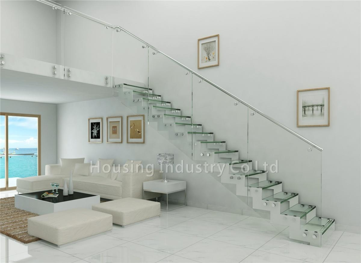 Tempered Glass Panel Stairs Glass Railing Straight Staircase Hs Zp | Frameless Glass Stair Railing | Metal | Seamless Glass | Handrail | Framed Glass | Office