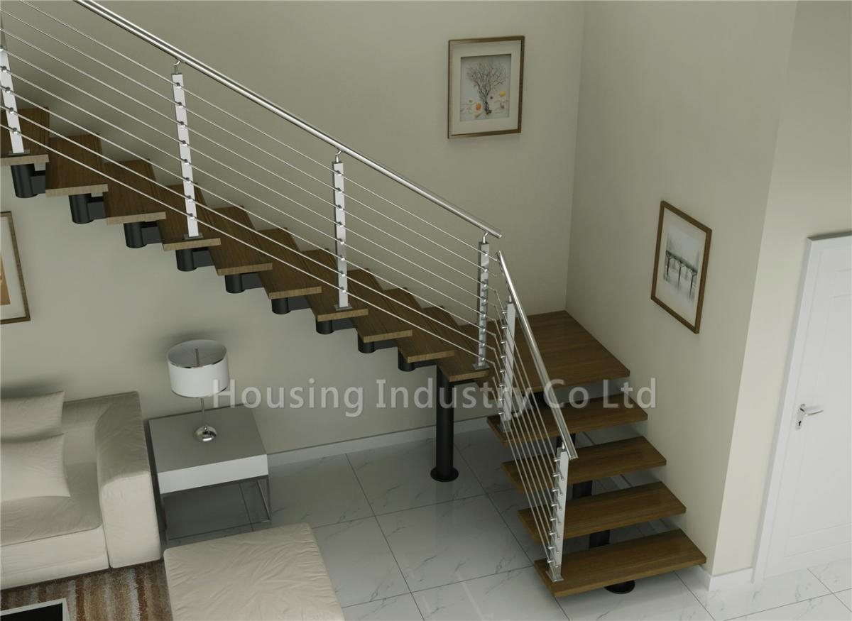L Shaped Wood Stairs With Steel Cable Wooden Stair Hs Sm Beam Gt | Wood And Stairs Ltd | Steel | Stair Railing | Baluster | Spindles | K Len