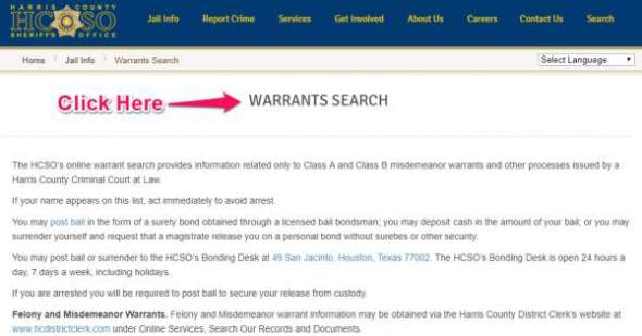 Texas Warrants - Search in Harris County, Houston