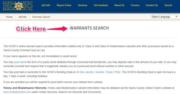 Search For Warrants In Tx, Harris County, Houston