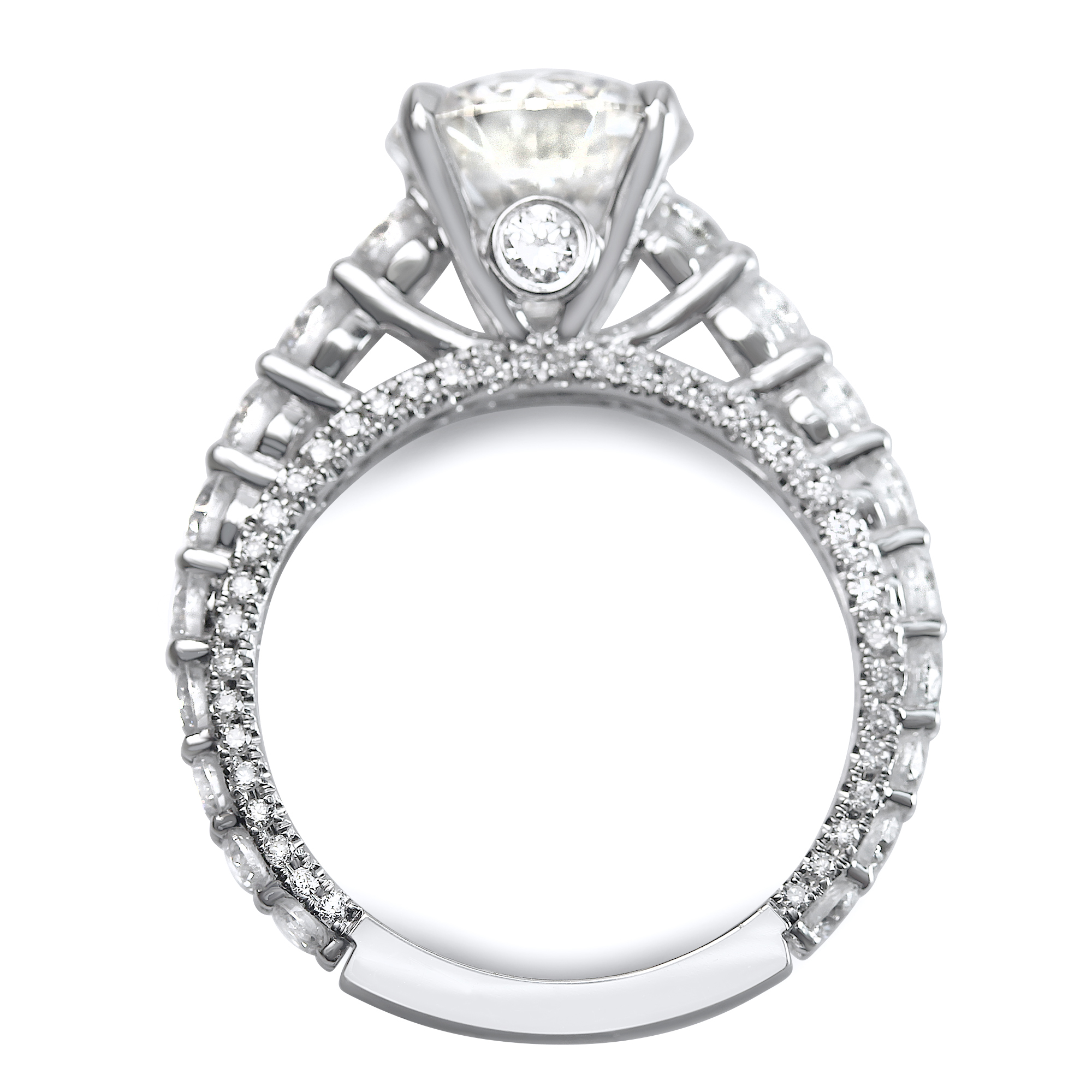 2 3 4cttw Round Shared Prong Designer Engagement Ring