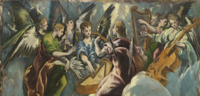 Angels playing music. Perhaps Mahler? Detail of El Greco's The Annunciation from the Museo Nacional del Prado.