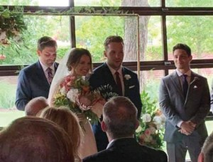 Man and woman at their wedding.