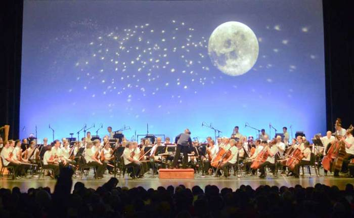 The Houston Symphony performs Lunada at Miller Outdoor Theatre.