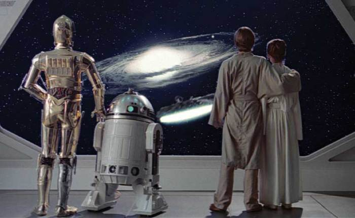Leia, Han Solo, C3PO and R2D2 in Star Wars: The Empire Strikes Back.