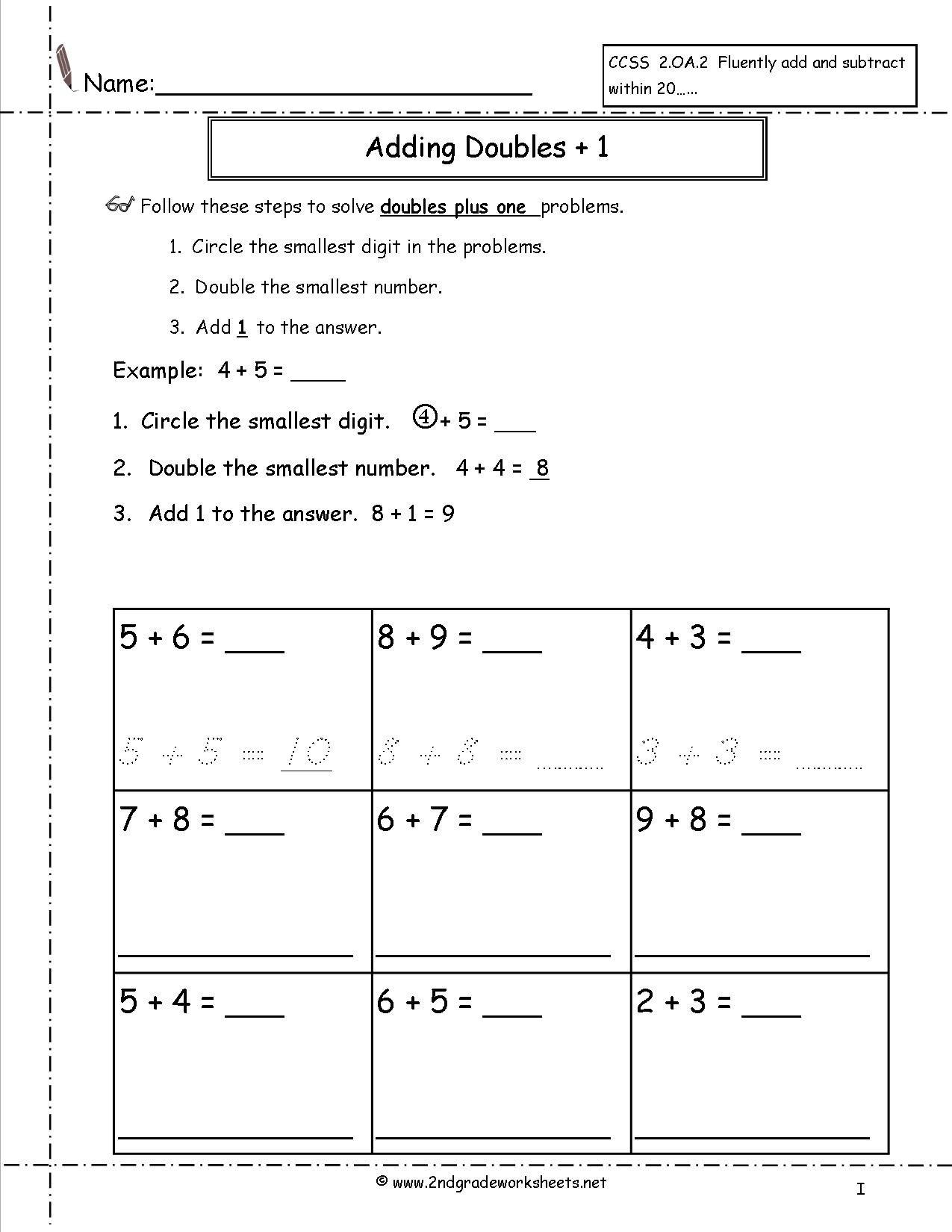 Ideas Collection Adding Doubles Plus One Worksheets In Download Free Worksheets Samples