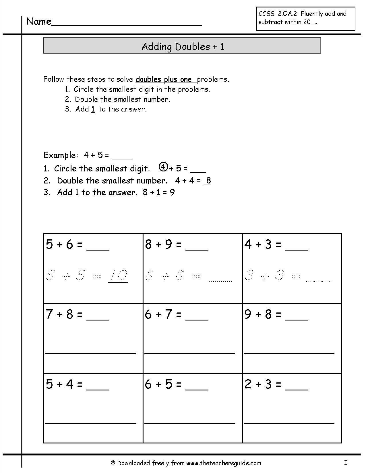 Single Digit Addition Worksheets From The Teachers Guide