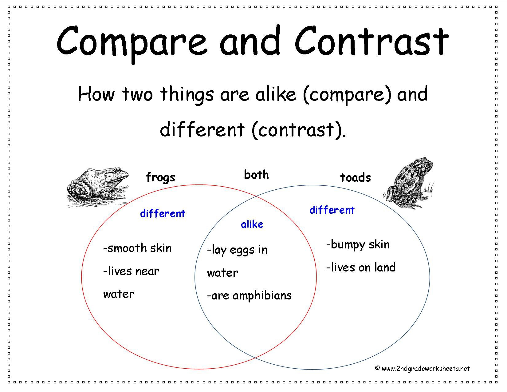 Comparing And Contrasting Worksheets