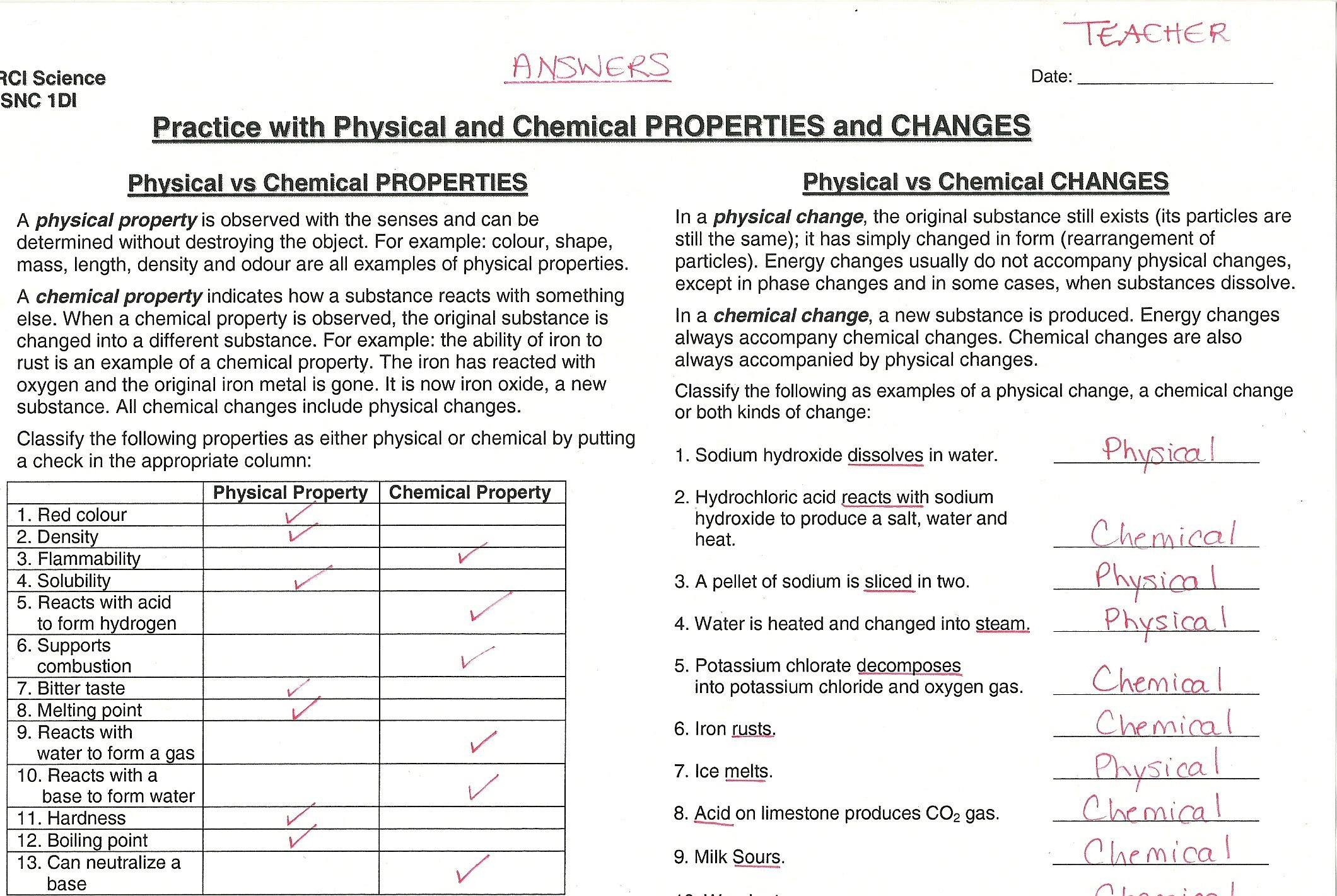Chemical Vs Physical Change Worksheets