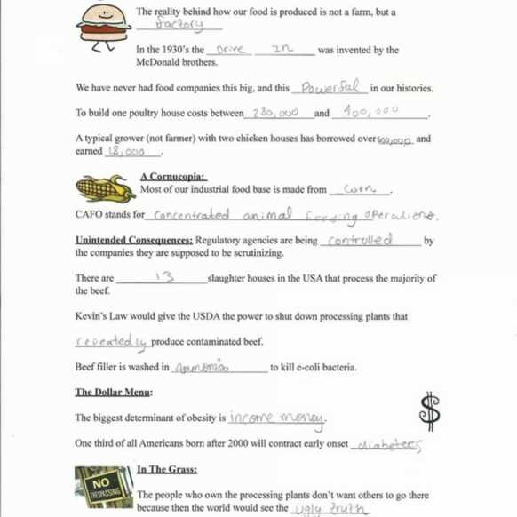 Worksheet Template Food Inc Sheet Answer Key Free